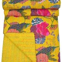 Yellow Fruit Prints Kantha Bedspread