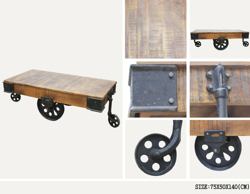 INDUSTRIAL IRON WOODEN TROLLEY WITH CAST IRON WHEEL