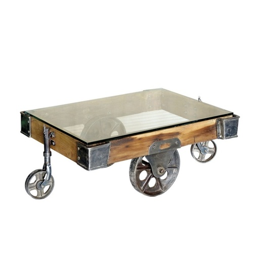 Industrial Wooden with Glass Coffee Table Trolley
