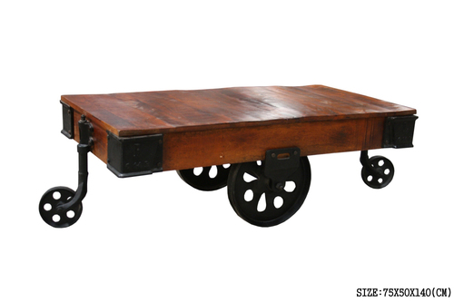 Industrial Iron Wheel Coffee Table
