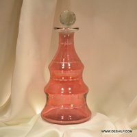 Red Color Ring Shape Glass Perfume Bottle