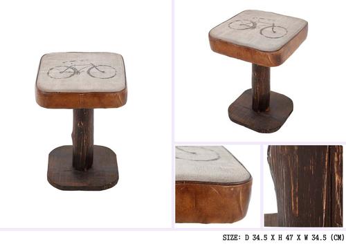 Wooden Top Iron Stool
