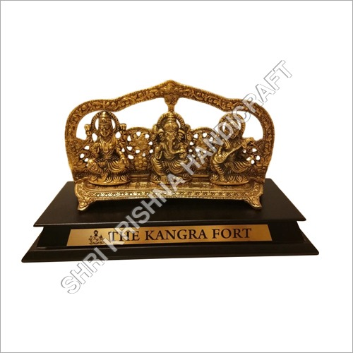 Gold Plated Aluminum Ganesh Laxmi Saraswati Statue