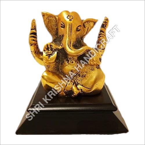 Antique Gold Plated Aluminum Ganesh Statue