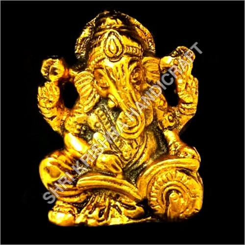 Gold Plated Aluminum Ganesh Statue