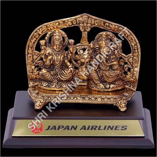 Gold Plated Aluminum Laxmi Ganesh Statue