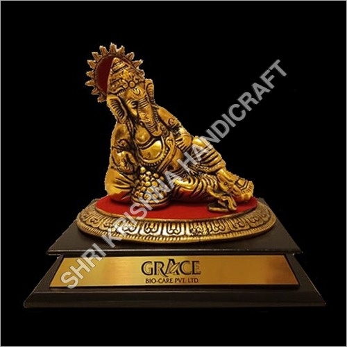 Aluminum Gold Plated Ganesh Statue