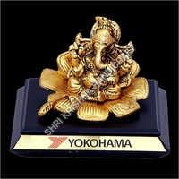 Modern Gold Plated Aluminum Ganesh Statue