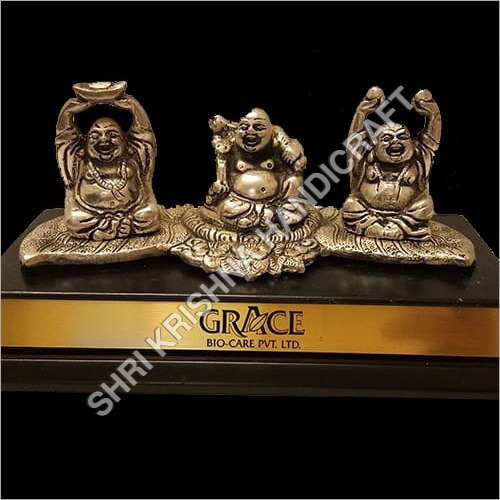 Gold Plated Aluminum Laughing Buddha Statue