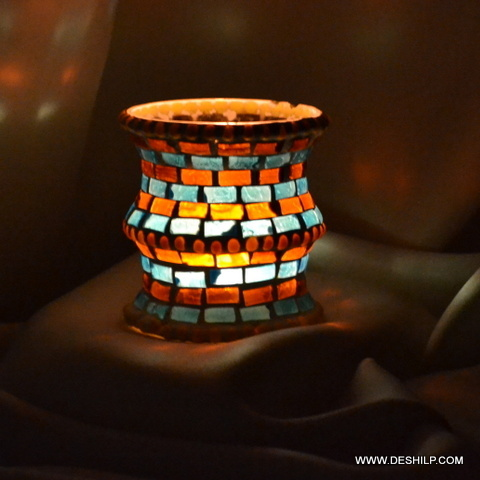 Handmade Multi Mosaic Glass Candle Holder