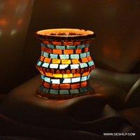 Handmade Multi Mosaic Glass Candle Holder
