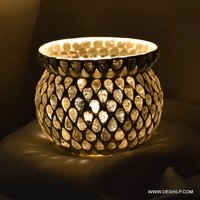 Multi Mosaic Glass Candle Holder
