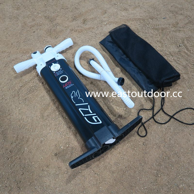 Double tube pump for sport boat, surf board, RIB boat