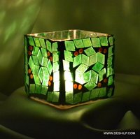 Squire Glass Green Mosaic Candle Holder