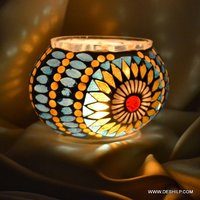 Multi Mosaic Glass Table Candle Holder