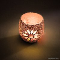 Mosaic Decor Glass Candle Holder
