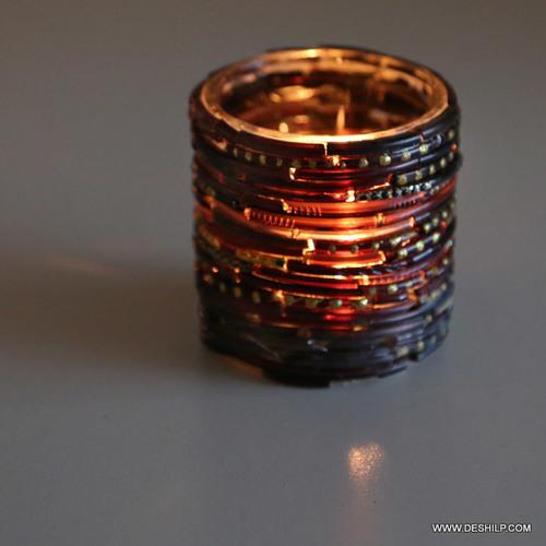 Antique Bangle Mosaic Candle Holder