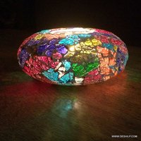 Rainbow Color Glass Candle Holder