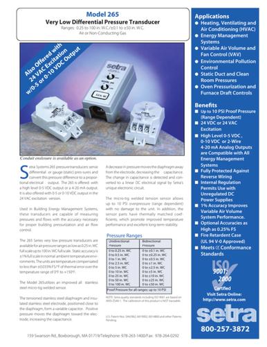 Setra USA 265 Differential Pressure Transducer Range 0- 0.5 Inch