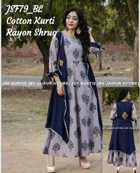 designer cotton kurti with rayon shrug