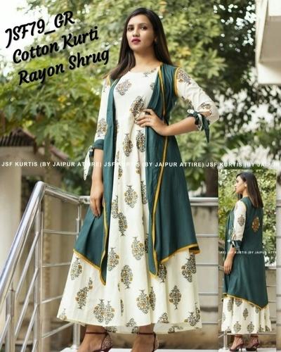 designer cotton kurti with rayon shrug