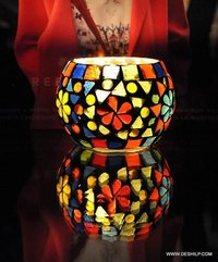 Multi Mosaic Glass Dinner Table Candle