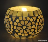 White Mosaic And Antique Effect Candle Holder