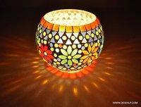 Multi Mosaic Glass Candle Holder