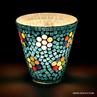 Sky Blue Mosaic Color Glass Candle Holder