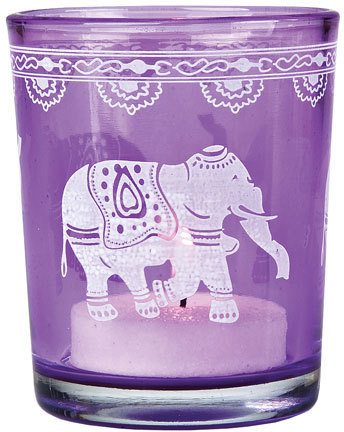 Elephant Print Glass Colorful Candle Holder