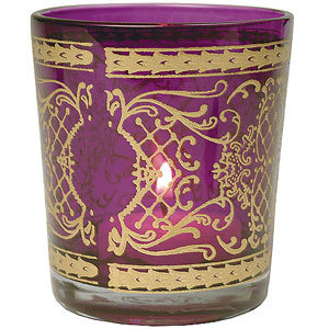 Printed Glass T Light Candle Holder
