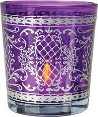 Blue Glass Printed Candle Holder