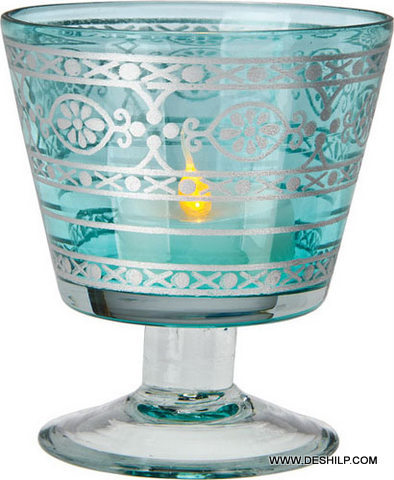 Sky Blue Color Glass Printed Candle Holder