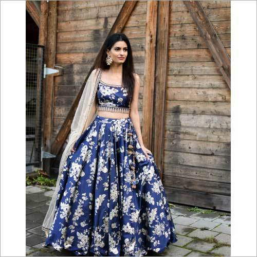 Ladies Blue Satin Silk Designer Lehenga
