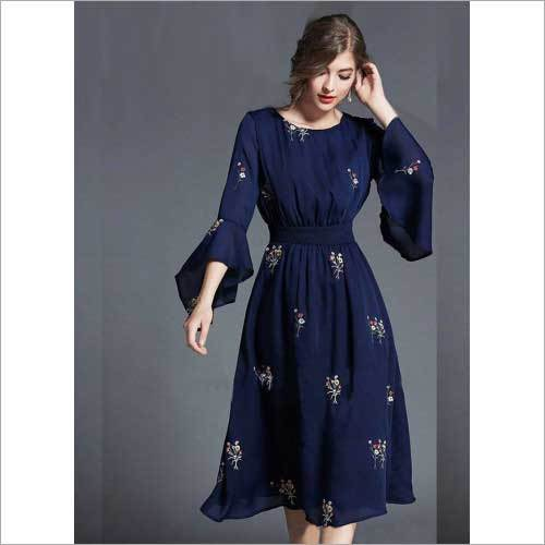 Ladies Navy Blue Embroidered Tunic
