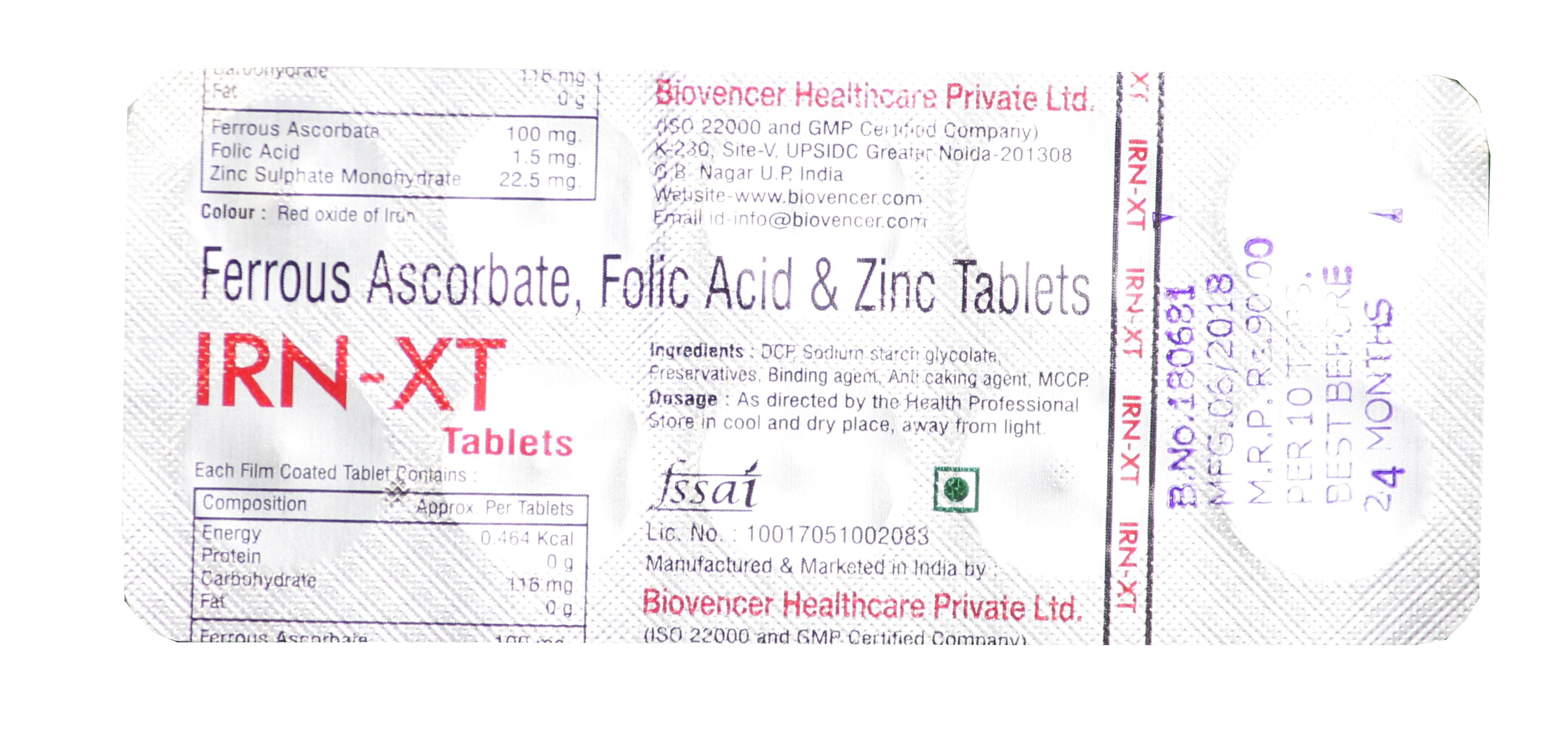 Ferrous Ascorbate Folic Acid Zinc Tablet