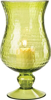 Green Color Finish Hurricane Candle