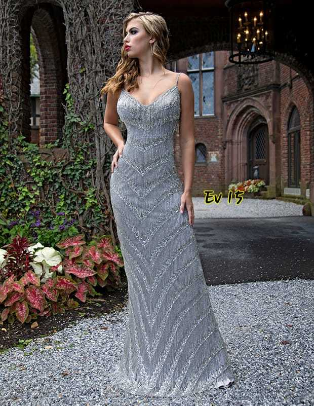 Grey Colour Evening Gown