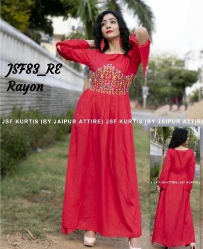 A-line embroidered rayon kurti