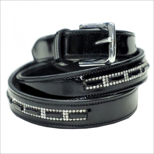 Black Crystal Leather Belt