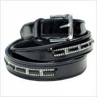 Black Crystal Leather Belt