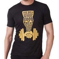 Cotton Mens Black Printed T-shirt
