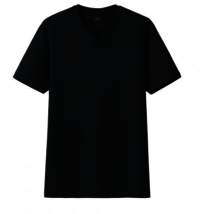Cotton V-Neck Half Sleeve Black T-Shirt