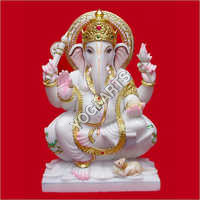 White Marble Polished Lord Ganesh Statue