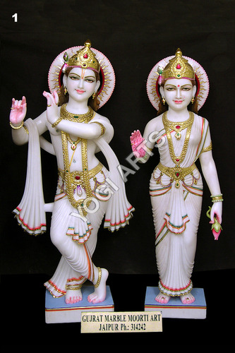 White Marble Polished Lord Radha Krishna Statue