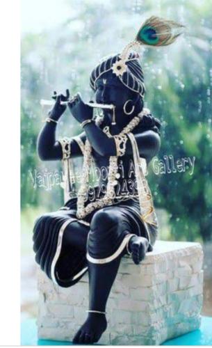 Black Stone Krishna Statue