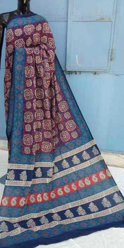 Ajrakh Printed cotton Saree