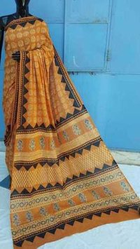 Ajrakh Printed cotton Yellow Saree