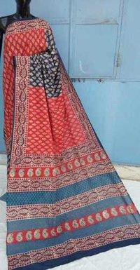 Ajrakh printed saree