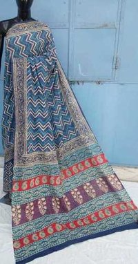 Ajrakh Printed ladies cotton Saree